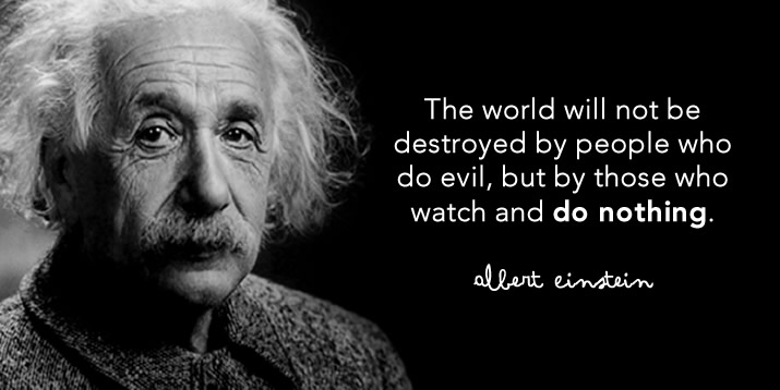 The world will not be destroyed by people who do evil, but by those who watch and do nothing.  Albert Einstein
