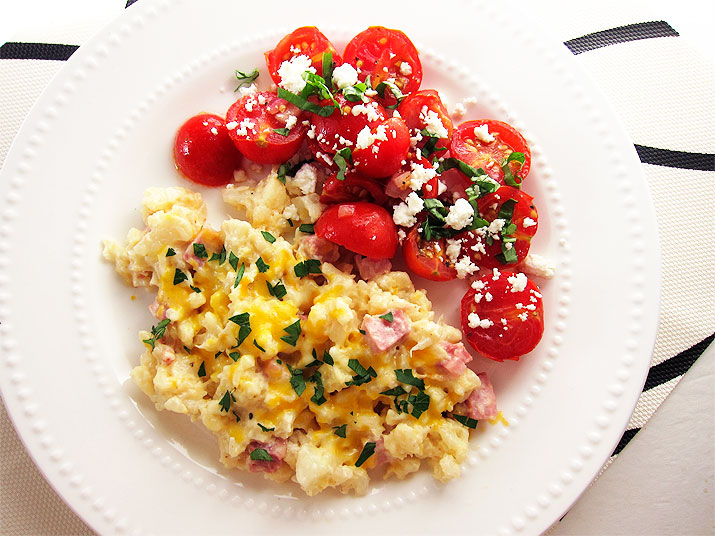 Cauliflower Ham Bake with Tomato Feta Salad