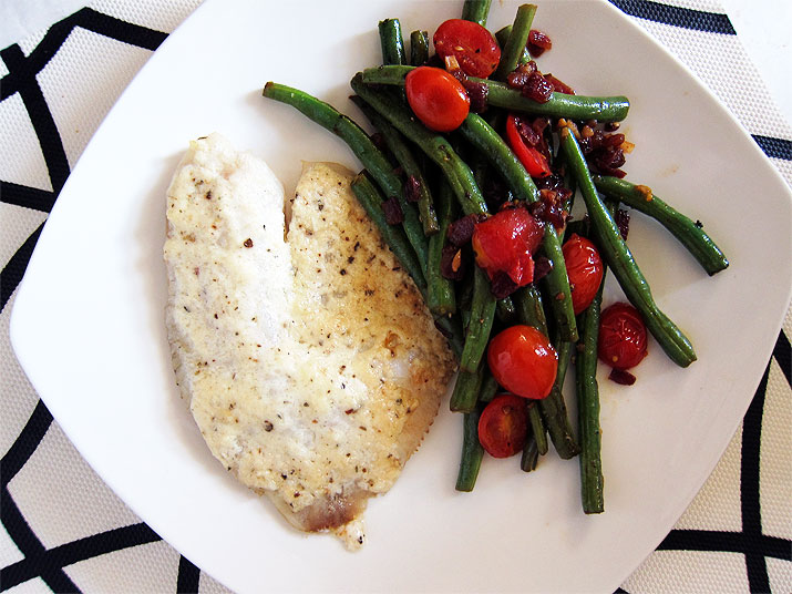 Parmesan Tilapia and Green Beans with Tomatoes
