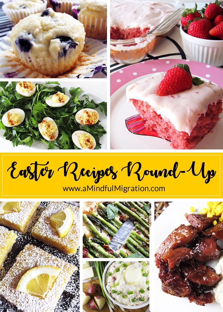 2018 Easter Recipe Round-Up: A collection of delectable recipes, including asparagus tart, garlic deviled eggs, strawberry cake with strawberry cream cheese frosting and more!