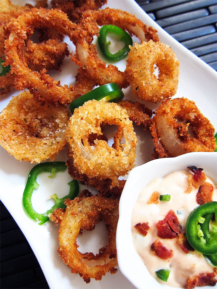 Onion Rings with Spicy Jalapeno Bacon Dip