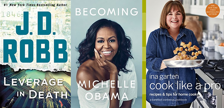 Fall books I want to read, including Leverage in Death by J.D. Robb, Becoming by Michelle Obama and Cook Like a Pro by Ina Garten